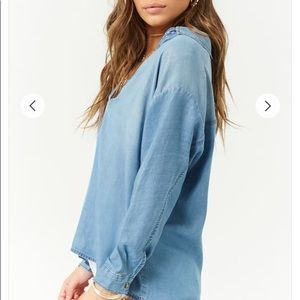 NWOT Denim Chambray Top Faded